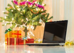Computer with Presents and a Christmas Tree